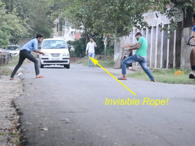 Funny Pranks – Invisible Rope Prank
