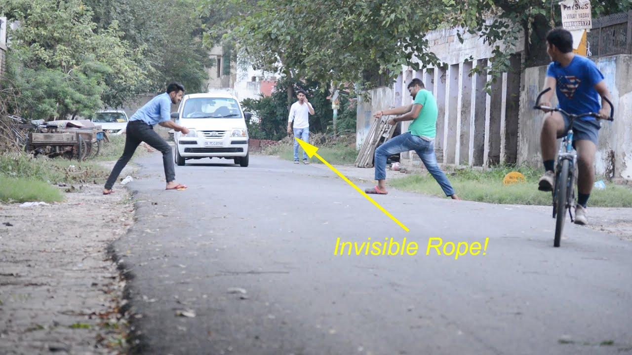 Funny Pranks - Invisible Rope Prank 1