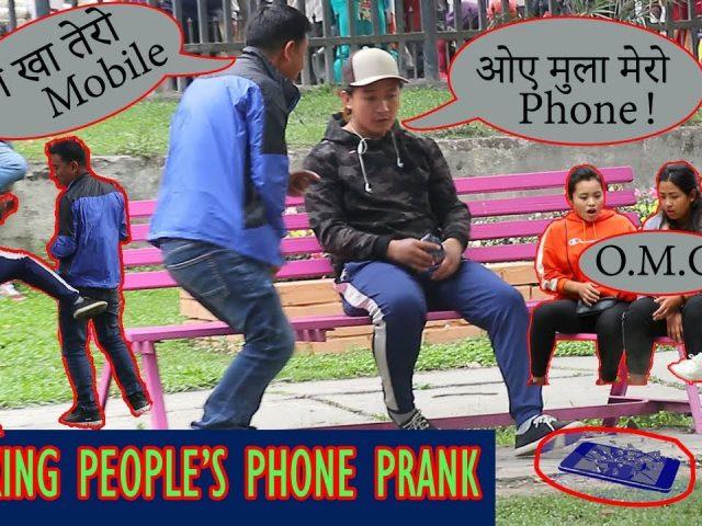 Breaking People's Phone Prank (Gone Wrong) – Epic Reaction / Nepalese Dreamer ft. Kaji Gaming